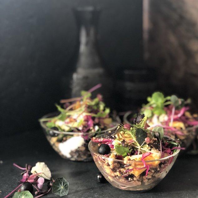 Rainbow haloumi salad