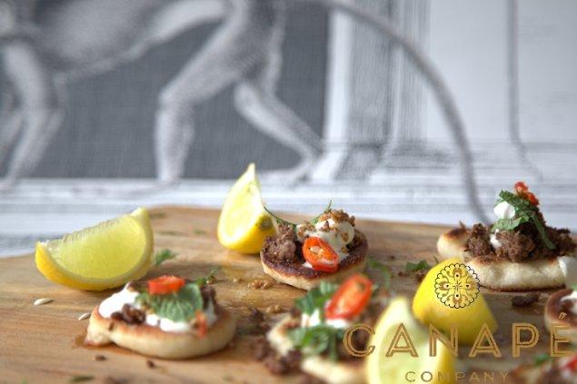 Lamb tzatiki Pita with tumeric hummus, coriander, peanut