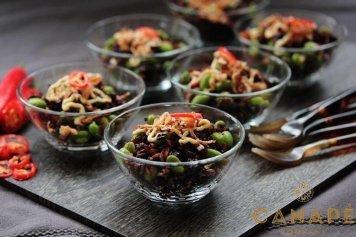 Black rice edamame beans currants w/ kaffir lime & ginger