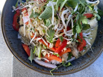 Kumara vegetable green curry, coconut rice ( served hot)