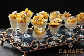 Individual panna cotta coconut pineapple passion fruit mint salsa