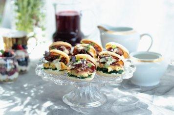 Mini English muffins scrambled egg bacon tomato chilli jam