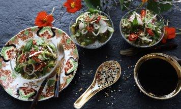 Pork larb salad, Asian herbs & toasted nuts
