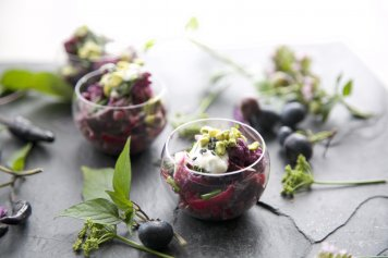 Puy lentils roasted beetroot Salad with red onion lemon dill yoghurt