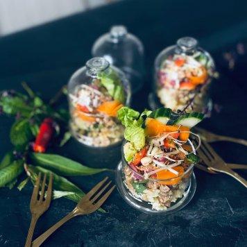 Pork larb Salad with chilli lime crispy shallots roasted nuts