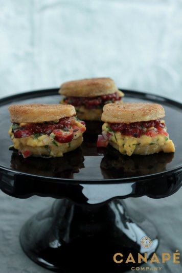 Mini English muffins scrambled egg spinach mushroom hollandaise