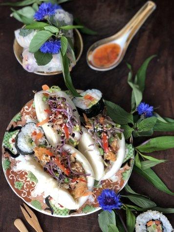 Tamarind eggplant bao buns (veg) or massaman chicken