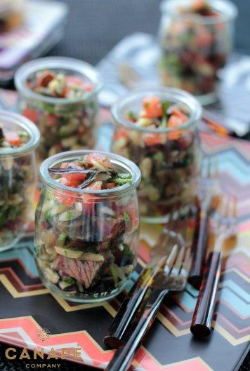 Lamb orzo tomato mint salad with eggplant and feta